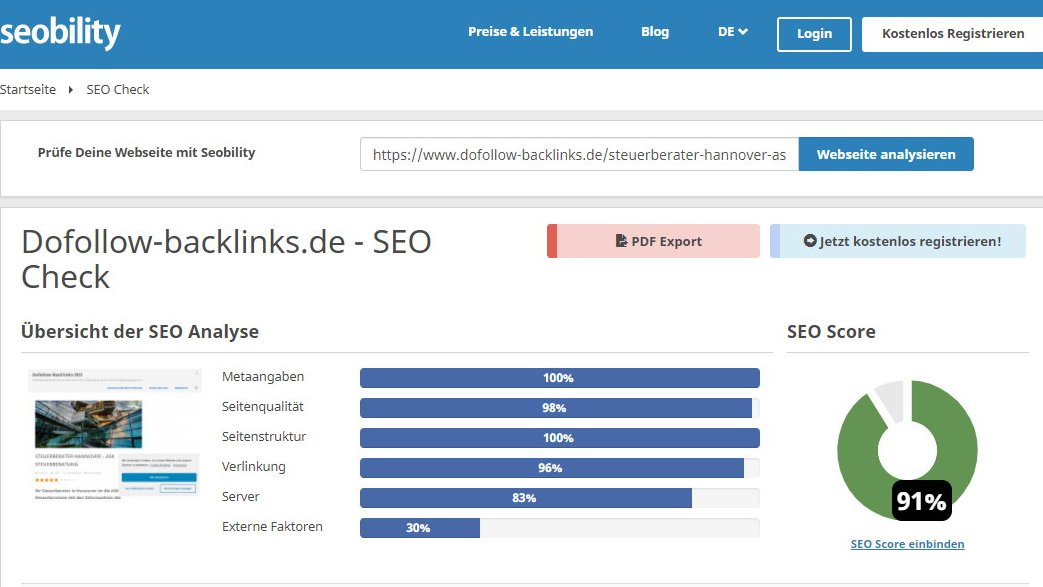 ask steuerberater hannover dofollow backlinks seo check